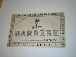 Rare BUVARD Ancien ARTICLES DE CAVE & BRASSSERIE. BIERE. BARRERE à NANCY. MATERIEL DE CAFE - Liqueur & Bière