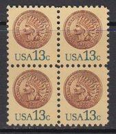 USA 1977 Coin (Indian) 1v Bl Of 4 ** Mnh (41803H) - Verenigde Staten