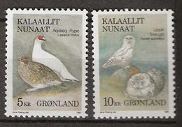 Greenland 1987 Birds,Rock Ptarmigan (Lagopus Mutus), Snowy Owl (Bubo Scandiacus) Mi 176-177 MNH(**) - Grönland