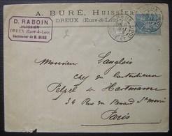 Dreux 1889 D. Raboin Huissier Successeur De A. Buré - Postmark Collection (Covers)