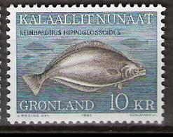 Greenland 1985 Marine Fauna, Fish, Greenland Halibut (Reinhardtius Hippoglossoides) Mi 162 MNH(**) - Grönland