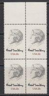USA 1978 Carl Sandburg 1v Bl Of 4 (margin) ** Mnh (41803N) - Verenigde Staten