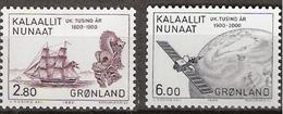 Greenland 1985 1000th Anniversary Of The Colonization Of Greenland By Europeans (VI), Ship, Satelite,Mi 157-158, MNH(**) - Grönland
