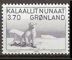 Greenland 1984 Art, Polar Bear Kills Catcher; Drawing By Kárale Andreassen, Teacher And Saga Researcher Mi 147, MNH(**) - Grönland