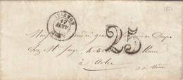 LETTRE. 1851. VAUCLUSE HOSPICES D'VIGNON POUR ARLES. TAXE TAMPON 25 - 1849-1876: Classic Period