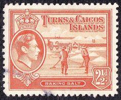 TURKS & CAICOS ISLANDS 1944 KGVI 2.5d Orange SG199a FU - Turks And Caicos