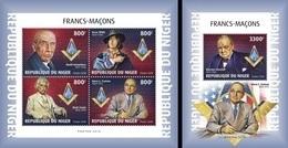 Niger 2018, Massonery, Roosvelt, 4val In BF +BF - Freemasonry
