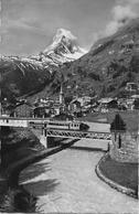 ZERMATT → Alte Zugskomposition Ausserhalb Zermatt, Seltene Fotokarte Anno 1956 - VS Valais