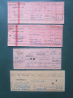 """4 BILLETS Tickets De Train - S.N.C.F.  - France -  Dans Les Années 1945/années 60 """"couleur Vieux Rose"""" - Chemins De Fer"""