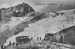 FURKASTRASSE BEIM RHONEGLETSCHER  → Alte, Offene Saurer Post-Auto Ca.1910 - VS Valais