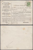 BELGIQUE COB 26 SUR CARTON PUBLICITAIRE  DE BRUXELLES 29/01/1877  (DD) DC-2108 - 1869-1883 Leopold II
