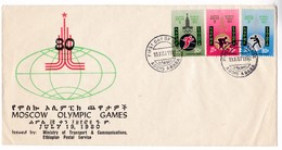M426 Ethiopia Premier Jour FDC Olympic Moscow 1980 Olympiques Boxing Athletics Cycling - Ete 1980: Moscou