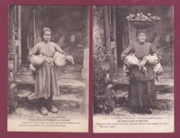 100219 - 2 Cartes - 24 Dordogne Périgord Sarladais Départ Pour Le Marché Jeune Fille - Oie Canard Patois Occitan Région - Francia