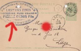 Pepinster 1901 Fabrique Spéciale Liqueurs Genièvre Distillerie  PIERRE DENIS FILS Carte Correspondance - Pepinster