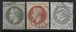Napoléon N° 25 à 27  - Cote : 165 € - 1863-1870 Napoléon III Lauré