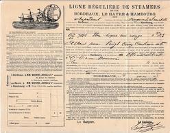"""1887 - LIGNE RÉGULIÈRE DE STEAMERS Entre BORDEAUX- LE HAVRE & HAMBOURG Bateau """"Marguerite Franchetti"""" - Documenti Storici"""