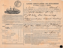 """1882 - LIGNE RÉGULIÈRE DE STEAMERS Entre BORDEAUX- LE HAVRE & HAMBOURG Bateau """"Blanche"""" - Documenti Storici"""