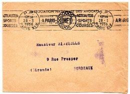 PARIS XIV  1956 = FLAMME PP RBV Illustrée D'un CADRAN ' INF1/ Actualites Sports Courses ' - Postmark Collection (Covers)