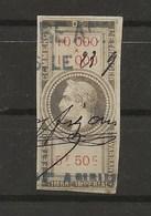FISCAUX  FRANCE EFFET DE COMMERCE TYPE NAPOLEON III DE BARRE 1864  N°41  5F50 - Fiscaux
