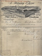 "J.BRÜNING & ZOON  Voorheen Houtindustrie "" Picus"" Sigarenkistenfabriek EINDHOVEN  Factuur 6 November 1911 - Pays-Bas"