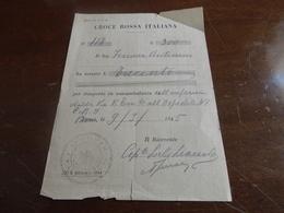 RICEVUTA TRASPORTO MALATO CON AUTOAMBULANZA CROCE ROSSA ITALIANA  - COSTO 300 LIRE - 1945 - - 1939-45