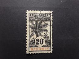 DAHOMEY 1906 , Type Palmier , Yvert No 23 , 20 C Noir Sur Bleu Gris Obl TB - Dahomey (1899-1944)