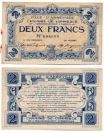 1914-1918 // C.D.C. // ABBEVILLE // 2 Francs // Filigrane Feuilles - Chambre De Commerce