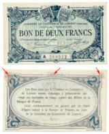 1914-1918 // C.D.C. // LORIENT // 3 Septembre 1915 // 2 Francs // Série A // Filigrane Abeilles - Chambre De Commerce