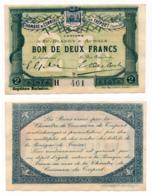 1914-1918 // C.D.C. // TREPORT // 13 Octobre 1916 // 2 Francs // Série H // Sans Filigrane - Chambre De Commerce
