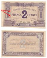 1914-1918 // C.D.C. // AGEN // 5 Novembre 1914 // 2 Francs // Sans Filigrane - Chambre De Commerce