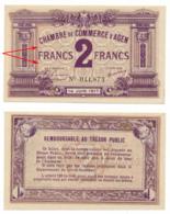 1914-1918 // C.D.C. // AGEN // 14 Juin 1917 // 2 Francs // Sans Filigrane - Chambre De Commerce