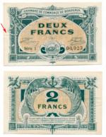 1914-1918 // C.D.C. // BORDEAUX // 1917 // 2 Francs // Filigrane Abeilles - Chambre De Commerce