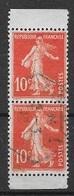 T 00082 - France 1906, RARE Paire Verticale Oblitérée De Carnet Du N° 135 - 1906-38 Sower - Cameo