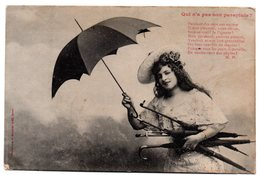 Tarjeta Postal  De  Mujer Con Paraguas. - Francia