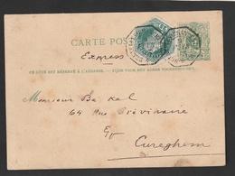 Postkaart 5ct. + TG12 Op Express Van BRUXELLES (CHANCELLERIE) Naar CUREGHEM - Télégraphes