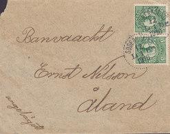 Sweden SÖDERKÖPING (Östergötland) 1916 'Petite' Cover Brief To ÅLAND 2x 5 Öre Gustaf V. - Schweden