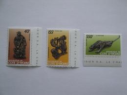 1989 Cote D'Ivoire 825/7 ** MNH  Art Sculptures Cote 8.00 € Michel 992/4 Scott 871/3 Christian Lattier - Côte D'Ivoire (1960-...)