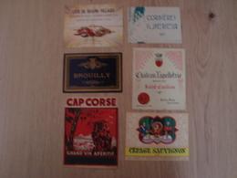 LOT DE 6 ETIQUETTES DE VIN SAINT-EMILION SAUVIGNON CAP CORSE COTE DE BEAUNE BROUILLY - Collections, Lots & Séries