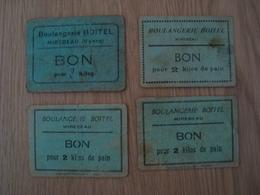 LOT DE 4 BONS POUR 2 KG DE PAIN BOULANGERIE BOITEL MIREBEAU VIENNE - Historische Dokumente