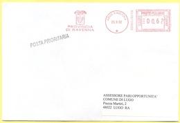 ITALIA - ITALY - ITALIE - 2002 - 00,62€ EMA, Red Cancel - Provincia Di Ravenna - Posta Prioritaria - Viaggiata Da Ravenn - Affrancature Meccaniche Rosse (EMA)