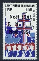 """Saint Pierre And Miquelon, Christmas, """"FRANCE LIBRE"""", 1991, MNH VF - St.Pierre & Miquelon"""
