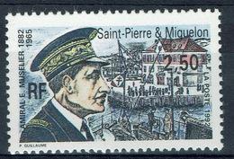 Saint Pierre And Miquelon, Emile Muselier, French Admiral, 1992, MNH VF - St.Pierre & Miquelon