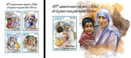 Centrafrica 2018, Mother Teresa, 4val In BF+BF IMPERFORATED - Mother Teresa