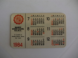 Bank Banque Banco Weng Hang De Macau Macao China Pocket Calendar 1984 - Calendriers