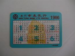 Bank Banque Banco Nan Tung, Macau Macao China Pocket Calendar 1986 - Calendriers