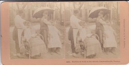 TRUQUIE-RARE-TURKEY-constantinople Barbers At Work In The.-copyright 1898 By  B. W. KILBURN-littleton N. H.-voir 2 Scans - Fotos Estereoscópicas