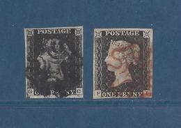 Grande Bretagne, GREAT BRITAIN - N° 1 Oblitéré (1840) Black Penny ( Lot De 2 Timbres ) - Oblitérés