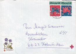 Sweden KOLMÅRDEN 1975 Cover Brief Mosaic Embroideries From Block Miniature Sheet Vignette & Cachet Red Cross Rotes Kreuz - Briefe U. Dokumente