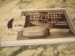 ANCIENNE PUBLICITE DENTIFRICE GELLE FRERES 1917 - 1914-18