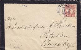 Sweden STRALSNÄS 1919 Mourning Cover Brief KUDDBY 15 Öre Gustaf V. Stamp - Schweden